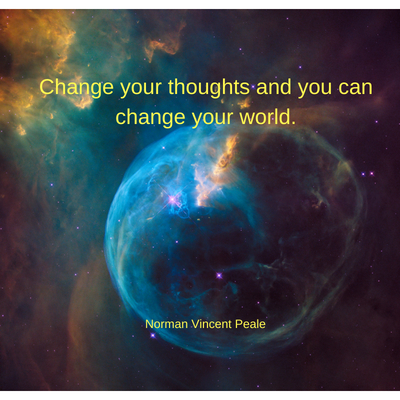 Change Your Thoughts quote on space background